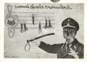 1946 Symphonia Diabolica Mauthausiensis / First anniversary of the liberation of the Mauthausen concentration camp. Nazi death camp guard as a conductor playing from the music sheet of Jewish dead men. Judaica. Hebrew text. So. Stpl s: Simon Wiesenthal (Jewish Austrian Holocaust survivor) (EB)
