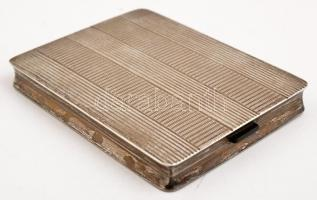 Ezüst (Ag) art deco cigarettatárca, belül aranyozott, jelzett, mesterjeggyel (BK) 11x8 cm, nettó: 182 g