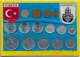 Törökország 1939-1987. 1k-25L (15x) kartonlapon, lezárt csomagolásban T:2 Turkey 1939-1987. 1 Kurus - 25 Lira (15x) on cardboard in closed packing C:XF