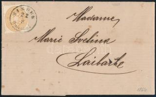 1864 15kr levélen ,,SISSEK Bahnhof - Laibach