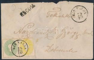 """2kr + 3kr on registered cover (stamp missing from backside), 2kr + 3 kr ajánlott levélen (hátoldali bélyeg hiányzik) ,,KIS VÁRDA"""""""