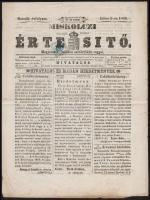 Newspaper duty stamp on newspaper, Előérvénytelenített Hírlapilleték bélyeg a Miskolczi Értesítő teljes újságon