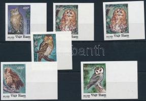 Owl imperforated margin set, Bagoly vágott ívszéli sor