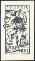 Rudolf Grebe (1903-2002): Ex libris Otto Holl,cirkus, udvari bolond. fametszet, jelzett 85x50 mm / Circus, wood engraving