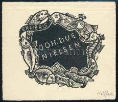 Hermann Huffert Hanan (1904-1995): Ex libris Joh. Due Nielsen. Halak. fametszet, jelzett 85x62 mm /  Fishes wood engraving