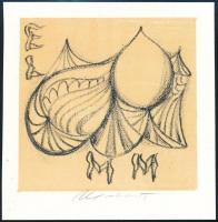 Miroslav Matons (1921-): Ex libris ELMMl. Litográfia  jelzett 95x95 mm /  Lithography