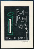 Roland Reveda (1912-1996): Ex libris Ruth Izlet. Linómetszet  jelzett 75x50 mm /  Lino