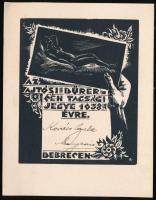 1938 Az Ajtósi Dűrer Céh tagsági jegye. Debrecen .Névre szóló, erotikus fametszettel. BT: jelzéssel 17x13 cm