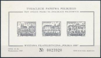 1000th anniversary of Poland Stamp Exhibition blackprint block 1000 éves Lengyelország bélyegkiállítás feketenyomat blokk