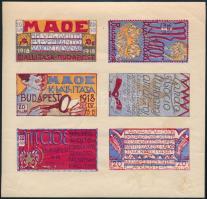 1918/a MAOE Kiállítás levélzáró hatostömb (betapadásnyomok, törés) (15.000)