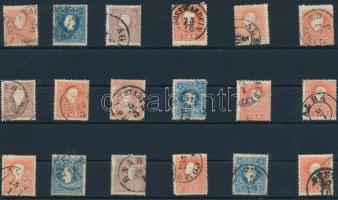 1858 18 db bélyeg szép / olvasható bélyegzésekkel
