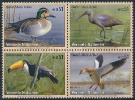 Endangered animals block of 4, Veszélyeztetett madárfajok négyestömb