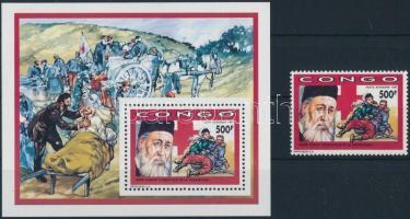Red Cross: Henry Dunant stamp + blokk Vöröskereszt: Henry Dunant bélyeg + blokk