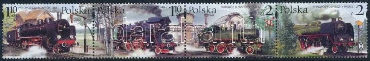 Locomotive set in stripes of 4 Vasút; Gőzmozdonyok sor négyescsíkban