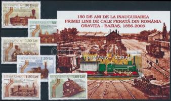 Gőzmozdonyok sor + blokk Steam locomotives set + block