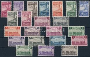 Railway parcel stamp set 22 values (Mi 171-172 stain, 185 gum disturbance), Vasúti csomagszállító sor 22 értéke (Mi 171-172 rozsdafoltok, 185 apró betapadásnyom)