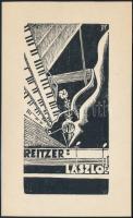 Buday György (1907-1990): Ex libris Reitzer László. Fametszet, papír, jelzett a dúcon, 15×9 cm