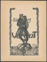 Békeffi György(?-?): Ex libris Varga T. Klisé, papír, jelzett a klisén, 12x9,5 cm