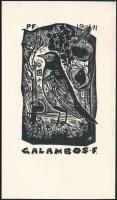 Bordás Ferenc (1911-1982) : Fekete rigó ex libris Galambos, fametszet, papír, jelzett a dúcon, 9×5 cm