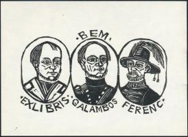 Perei Zoltán: Ex libris Bem. Fametszet, papír, 10x14 cm
