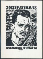 Jelzés nélkül: Ex libris József Attila. Klisé, papír, 14,5x10,5 cm