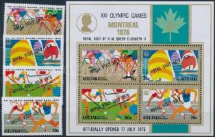 Olimpics set with overprint + block Montreali olimpia sor felülnyomással + blokk