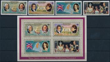 Anniversary of II. Queen Elizabeth's throne entry set + block II. Erzsébet királynő trónra lépésének évfordulója sor + blokk