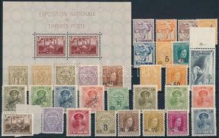 Luxemburg 1915-1940 31 stamps + block with minor faults, Luxemburg 1915-1940 31 db bélyeg és egy kicsit hibás blokk stecklapon