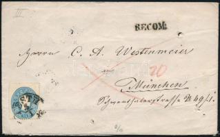 """15kr + 10kr on registered cover to Bavaria, Ajánlott levél Bajorországba 15kr + 10kr bérmentesítéssel """"PESTH"""" - """"MÜNCHEN"""""""