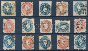 15 stamps with nice/readable cancellations, 15 db bélyeg szép / olvasható bélyegzésekkel