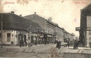 Szeged, Kárász utca, Pianino raktár, Fiumei kávéház, Burkus András és Wizner Jenő üzlete. Alth Lajos kiadása