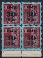 1945 Kisegítő 30f/30f négyestömb kettős felülnyomással. Látványos, ritka darab! / Mi 789 block of 4 with double overprint