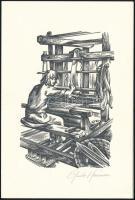 Mariman, Guido (1948- ) Nyomdász. Linómetszet, papír, üdvözlőlapon. Jelzett. / Printer, linocut. Signed. 17x12 cm