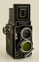 Meopta Flexaret automat 6x6cm/24x36 mm kamera Belar 1:3,5/80 mm objektívvel, viseltes állapotban / Vintage camera