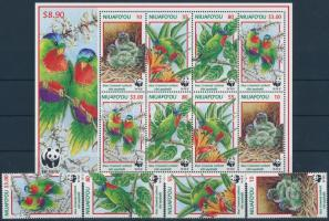 WWF: Blue-crowned lorikeet + mini sheet WWF: Kéksapkás lóri sor + kisív