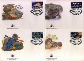 Sea snails and shells block of 4 + a same set on 4 FDC, Tengeri csigák és kagylók négyestömb + ugyanaz a sor 4 FDC-n, Meereschnecken und -muscheln Viererblock + gleicher Satz an 4 FDC