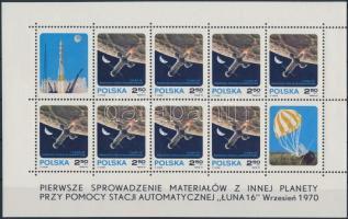Space Travel mini sheet (mark of hinges) Űrrepülés kisív (betapadás nyom)