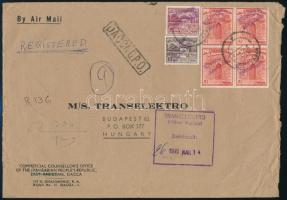 Registered airmail cover to Hungary with Pakistani stamps with handstamp overprint, Ajánlott légi levél Budapestre felülbélyegzett pakisztáni bélyegekkel