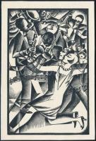 Végh Gusztáv (1889-1973): Jazz, fametszet, papír, jelzés nélkül, 12×8,5 cm