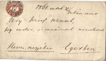 1861 10kr levélen NAGY-KÁROLY -MISKOLCZ - ERLAU