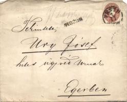 1861 2x10kr ajánlott levélen PESTH - ERLAU (a hátoldali viaszpecsét kivágva)