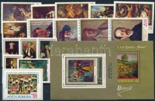 Festmény motívum 1970-1973 2 klf blokk + 3 klf sor + 2 klf önálló érték Paintings 1970-1973 2 blocks + 2 sets + 2 stamps