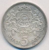 Lettország 1931. 5L Ag T:2  Latvia 1931. 5 Lati Ag C:XF  Krause KM#9
