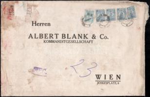 """Perfin stamps on registered bank cover to Vienna Ajánlott banklevél Bécsbe 47.50 Lei bérmentesítéssel, """"M B & Co"""" céglyukasztásos bélyegekkel"""