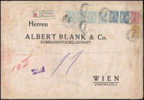"""Ajánlott banklevél Bécsbe 53.50 Lei bérmentesítéssel, """"M B & Co"""" céglyukasztásos bélyegekkel Perfin stamps on registered bank cover to Vienna"""