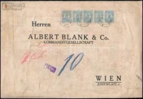 """Ajánlott banklevél Bécsbe 37.50 Lei bérmentesítéssel, """"M B & Co"""" céglyukasztásos bélyegekkel Perfin stamps on registered bank cover to Vienna"""