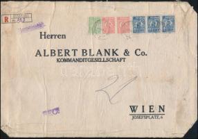 """Perfin stamps on registered bank cover to Vienna Ajánlott banklevél Bécsbe 38 Lei bérmentesítéssel, """"M B & Co"""" céglyukasztásos bélyegekkel"""