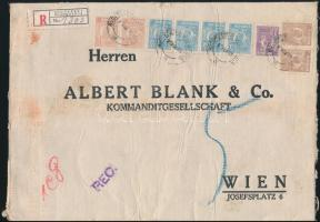 """Perfin stamps on registered bank cover to Vienna Ajánlott banklevél Bécsbe 41.50 Lei bérmentesítéssel, """"M B & Co"""" céglyukasztásos bélyegekkel"""