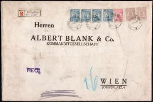 """Perfin stamps on registered bank cover to Vienna Ajánlott banklevél Bécsbe 42.50 Lei bérmentesítéssel, """"M B & Co"""" céglyukasztásos bélyegekkel"""