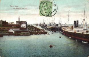Port Said, port view with ships, TCV card (EK)